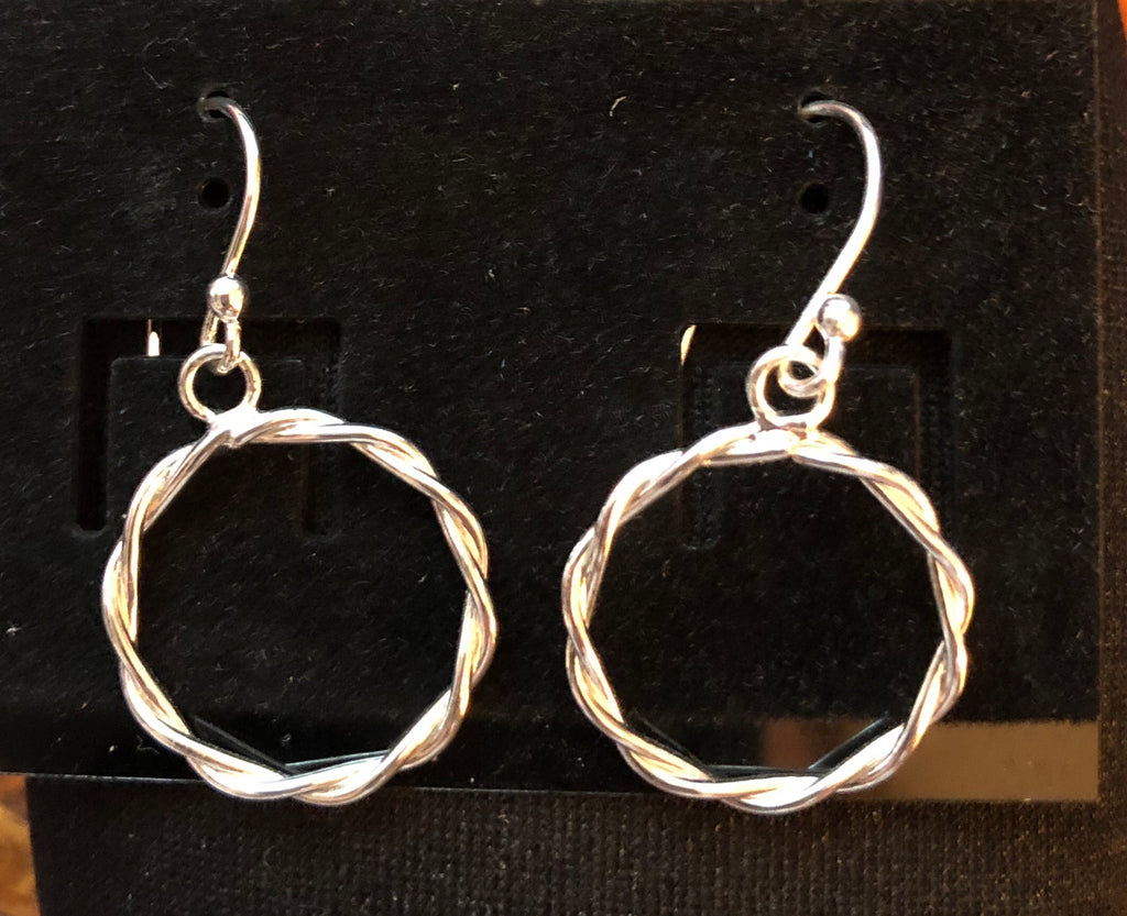 Sterling Silver 15mm Twisted Rope Circle Earrings