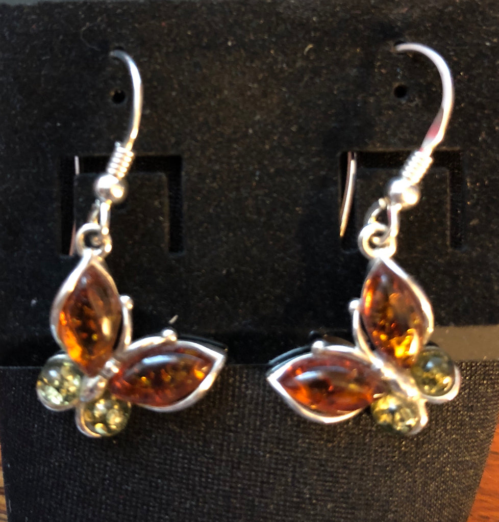 Sterling Silver Honey & Green Amber Butterfly Earrings