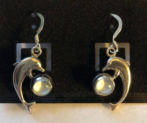 Sterling Silver Cabochon Glass Dolphin Earrings on French Wires