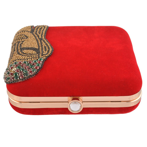 Sanskriti Women Bridal Fancy Party Hand Box Clutch Purse with Detachable Sling