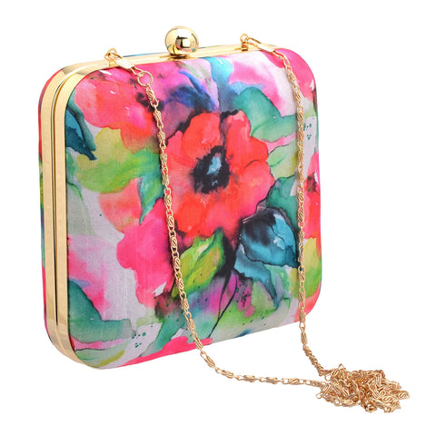 Zephyrr Wedding Fancy Party Hand Box Clutch Purse with Detachable Sling