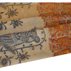 100% Pure Tussar Silk New Long Stole Dupatta Cream Printed With Weaving Border - StompMarket