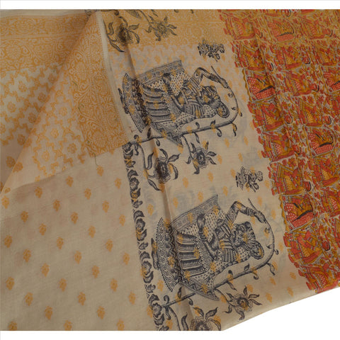 100% Pure Tassar Silk New Long Stole Dupatta Printed Veil With Weaving Border - StompMarket