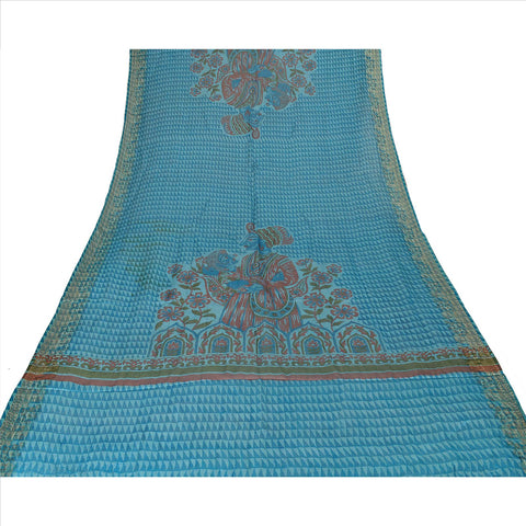 100% Pure Tassar Silk New Long Stole Dupatta Scarves Printed With Weaving Border - StompMarket