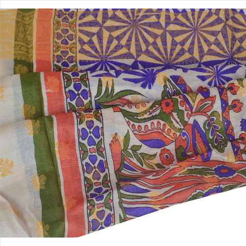 100% Pure Tassar Silk New Long Stole Dupatta Cream Printed Shawl Wrap Veil - StompMarket