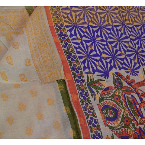 100% Pure Tassar Silk New Long Stole Dupatta Cream Printed Shawl Wrap Veil
