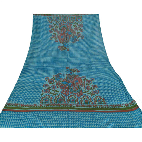100% Pure Tassar Silk New Long Stole Dupatta Blue Scarves Printed Wrap Veil - StompMarket
