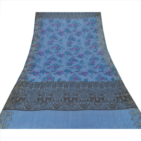 100% Pure Tassar Silk New Long Stole Dupatta Blue Scarves Printed Wrap Veil