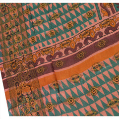 100% Pure Tassar Silk New Long Stole Dupatta Peach Scarves Printed Wrap Veil - StompMarket