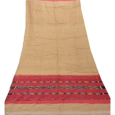 Vintage Dupatta Long Stole 100% Pure Silk Cream Woven Patola Scarves