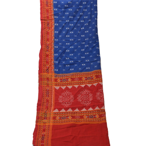 Vintage Dupatta Long Stole Cotton Blue Shawl Woven Floral Scarves