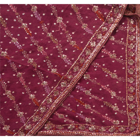 Vintage Dupatta Long Stole Georgette Purple Shawl Hand Beaded Scarves