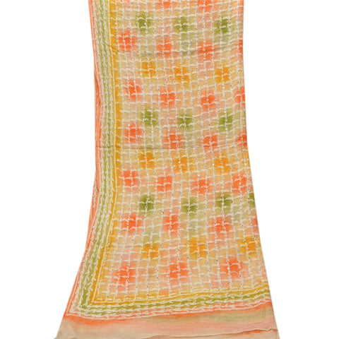 Vintage Dupatta Long Stole Chiffon Silk Multi Color Hand Beaded Chikankari Shawl