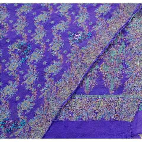 Vintage Dupatta Long Stole Pure Silk Blue Embroidered Woven Scarves