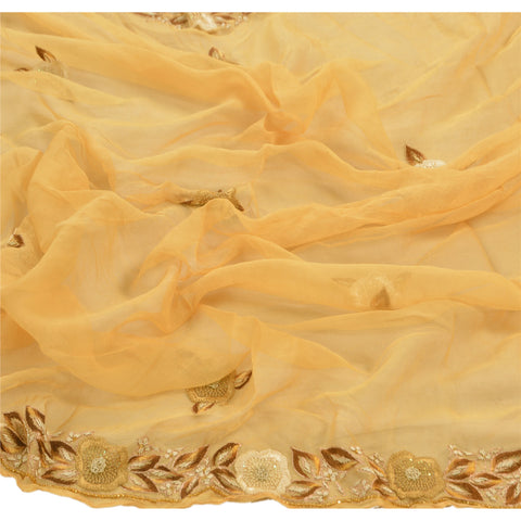 Vintage Dupatta Long Stole Chiffon Silk Cream Hand Beaded Wrap Veil