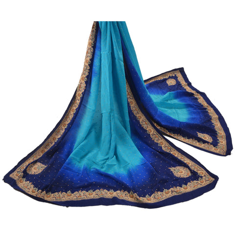 Vintage Dupatta Long Stole Crepe Silk Blue Scarves Hand Beaded Zardozi