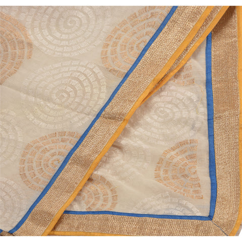 Vintage Dupatta Long Stole Cotton Cream Shawl Embroidered Scarves