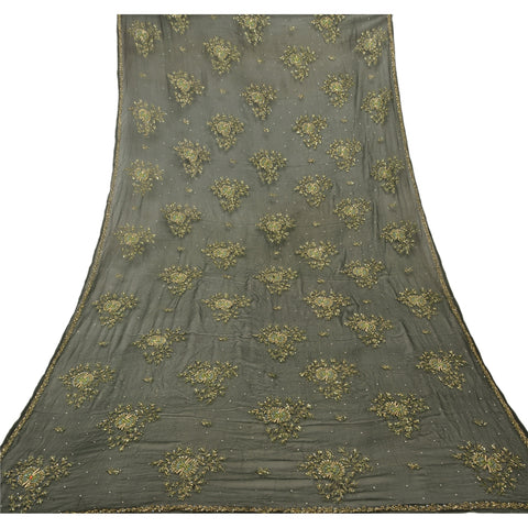 Vintage Dupatta Long Stole Chiffon Silk Green Hand Beaded Wrap Veil