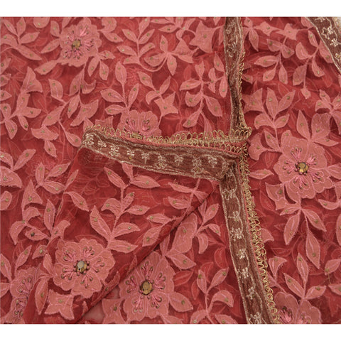 Vintage Dupatta Long Stole Net Mesh Pink Veil Hand Beaded Scarves