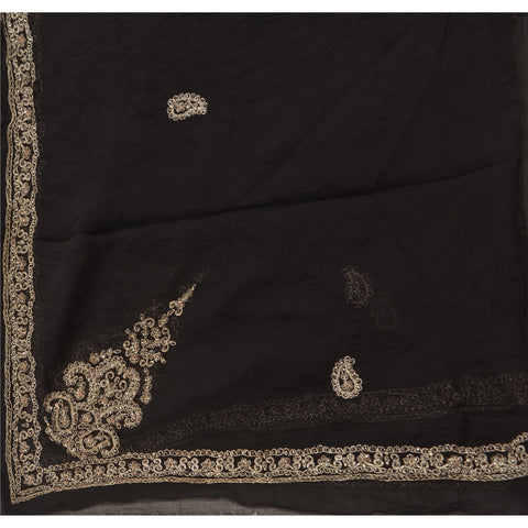 Vintage Dupatta Long Stole Chiffon Silk Black Scarves Hand Beaded Veil