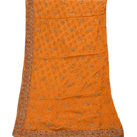 Vintage Dupatta Long Stole Pure Silk Saffron Scarves Hand Beaded Veil