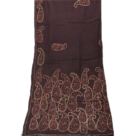 Vintage Dupatta Long Stole Chiffon Silk Brown Hand Beaded Patch Shawl