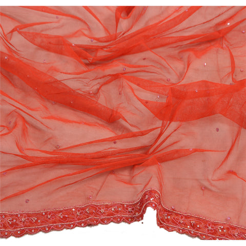 Vintage Dupatta Long Stole Orange Net Mesh Veil Hand Beaded Scarves