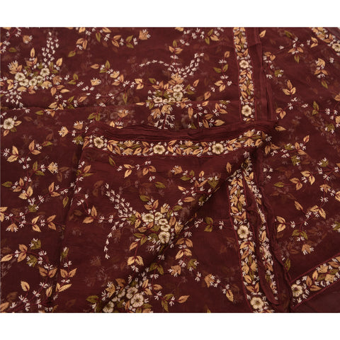 Vintage Dupatta Long Stole Chiffon Silk Dark Red Hand Embroidered Suzani Shawl