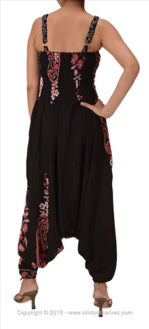 Cotton Printed Harem Pants Yoga Jumpsuit For Women (Black & Pink)