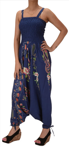 Cotton Printed Harem Pants Yoga Jumpsuit For Women (Blue)