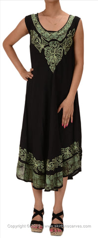 Women's Rayon Batik Print Embroidered Sleeveless Dress /Tunic
