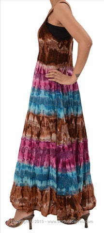 Cotton Tie N Dye Printed Sleeveless Lace Work Dress For Women (Pink)