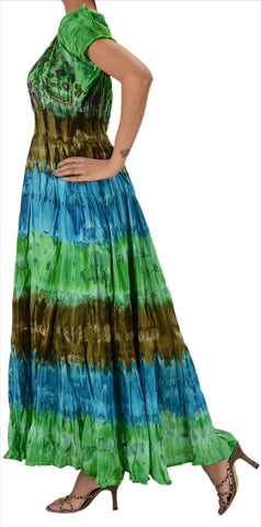 Cotton Tie Dye Printed Dress For Women (Blue & Green)