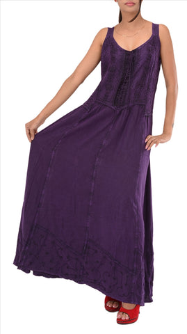 Rayon Embroidered Sleeveless Dress For Women (Purple)
