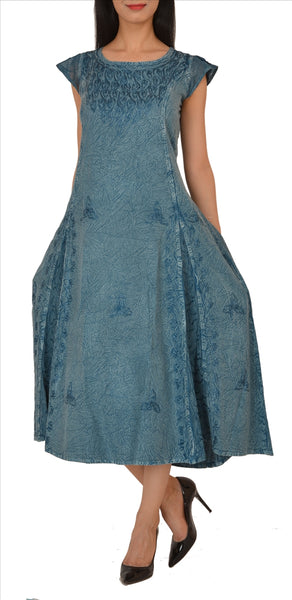 Rayon Embroidered Long Dress Frock Stone Wash Casual Wear
