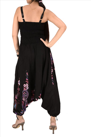 Cotton Printed Harem Pants Yoga Jumpsuit For Women ((Black & Purple)
