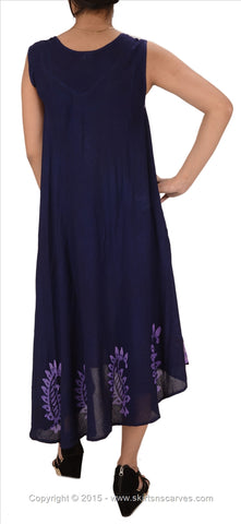 WOMEN NEW BATIK EMBROIDERED SLEEVELESS DRESS RAYON