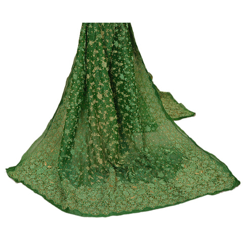 Vintage Heavy Dupatta Tissue Green Stole Hand Beaded Zardozi Antique