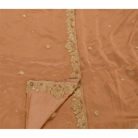 Vintage Heavy Dupatta Satin Silk Zari Stole Hand Beaded Golden Peach