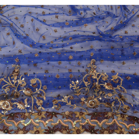 Vintage Heavy Dupatta Net Mesh Blue Hand Beaded Zari Antique