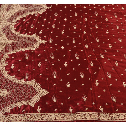 Vintage Heavy Dupatta Satin Silk Stole Hand Beaded Dark Red Zardozi