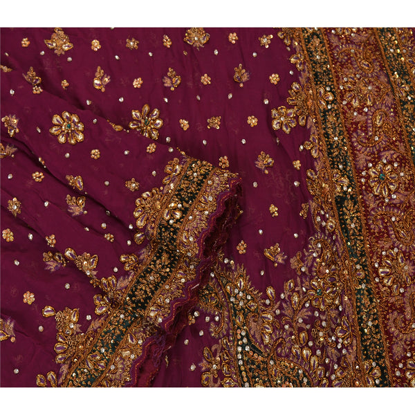 Vintage Heavy Dupatta Georgette Stole Hand Beaded Purple Zardozi