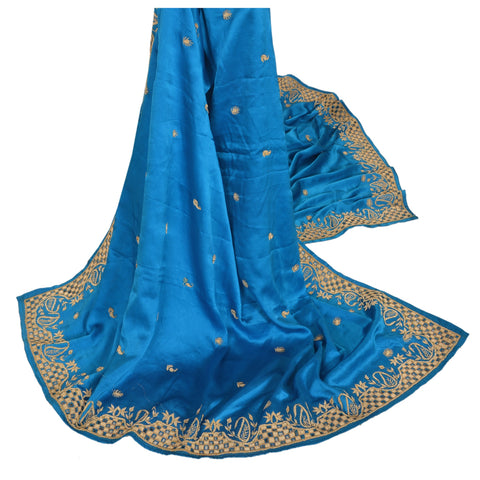 Vintage Heavy Dupatta Satin Silk Stole Hand Embroidered Antique Blue