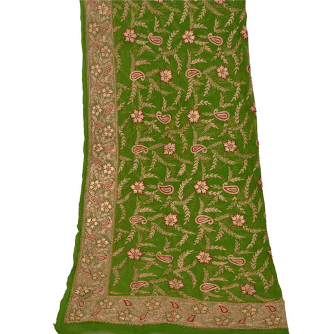 Vintage Heavy Dupatta Chiffon Stole Hand Beaded Zari Antique Green