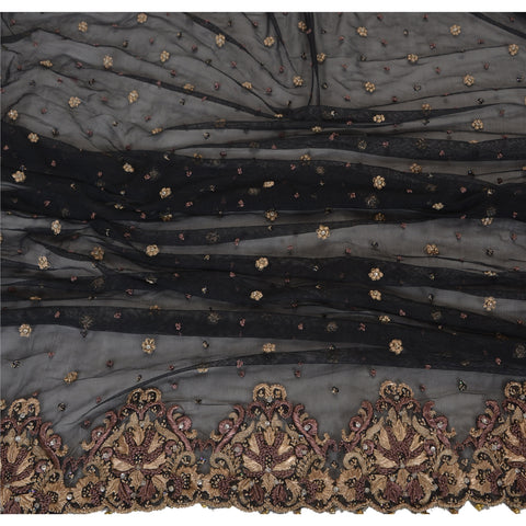 Vintage Heavy Dupatta Net Stole Hand Beaded Black Antique Zari