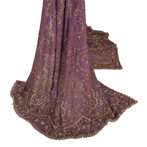 Vintage Heavy Dupatta Georgette Stole Hand Beaded Zari Antique Purple