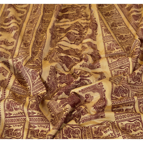 "Vintage Design Fabric Woven Cream Baluchari Decor Craft Human 16""X52"" - StompMarket"