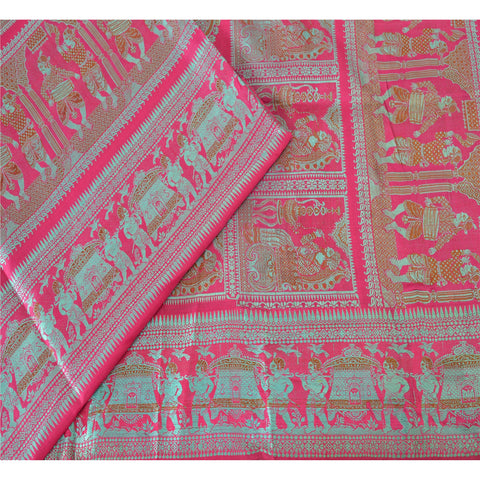"Vintage Design Fabric Woven Pink Baluchari Decor Craft Human 51""X46"""
