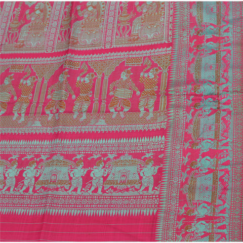 "Vintage Design Fabric Woven Pink Baluchari Decor Craft Human 51""X46"" - StompMarket"