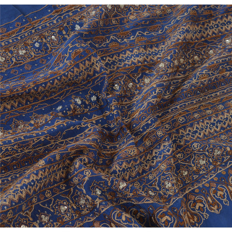 "Vintage Design Fabric Hand Beaded Blue Decor Indian Craft 13""X40"" - StompMarket"